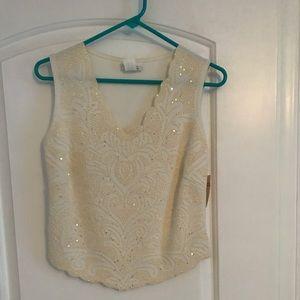 Cream beaded sleeveless shirt